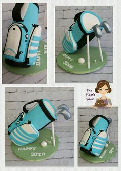"20"" tall vanilla golf bag cake. Www.thepurplewhisk.co.uk"