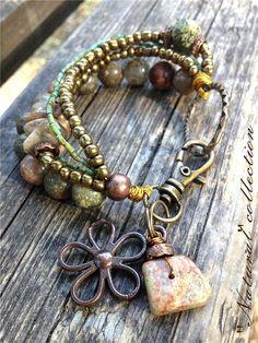Chunky Beaded Bracelet, Stone Nature Bracelet, Ethnic Boho Jewerly on Etsy, $32.00