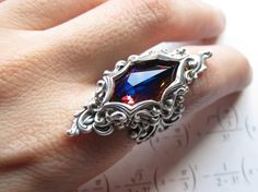 Arya  Swarovski ring  Filigree ring  Fantasy by DaedraJewelry, $52.00