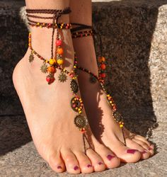 SUN MANDALA barefoot SANDALS orange foot jewelry hippie sandals toe anklet beaded crochet barefoot tribal sandal festival gipsy yoga wedding by PanoParaTanto on Etsy https://www.etsy.com/listing/216742973/sun-mandala-barefoot-sandals-orange-foot