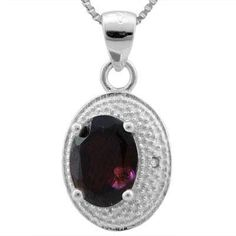 Garnet has always had an air of mystery about it. This dazzlingly deep red stone has been a part of legends and folklore for hundreds of years. In fact, it's one of the oldest ornamental jewels, and is thought to both provide protection and symbolize emotion. Our Garnet Diamond Pendant echoes this vibrant history with its 1.776-carat stone surrounded by pave-set diamond platinum chips. **NOTE: Pendant Only