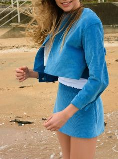 Young+British+Designers:+AQUA+BLUE+COTTON+CORD+SKIRT+by+WYTHE+BEA+-+Delightful+little+skirt+that+beautifully+complements+the+Aqua+jacket+also+by+Wythe+Bea.