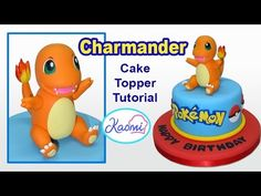 Charmander model using fondant / gum paste or polymer clay. In this Pokemon modelling tutorial I show you how to make the Pokemon Charmander. Cupcakes Pokemon, Pokemon Cake Topper, Pokemon Birthday Cake, Pikachu Cake, Fondant Cake Toppers, Pokemon Party, Cake Topper Tutorial, Fondant Tutorial, Decors Pate A Sucre