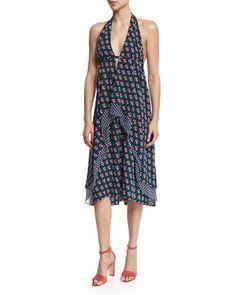 TBL97 Diane von Furstenberg Leyland Zen Floral Halter Dress, Midnight
