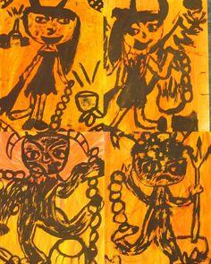 podmalba suchým pastelem, kresba černou tuží a štětcem, A3, 4.tř.