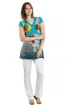 Stoo-Shirt bedruckte Tunika aus Jersey mit grafischem Print von MODEE