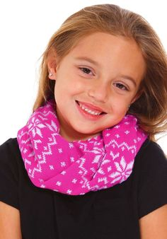 Baby Kids Winter Weave Knitting Neck Warmer Unisex Loop Wraps Scarf, Pink. Incredibly soft and provides ultimate warmth. Knitted neck warmer comes in a playful stripe or snowflake design. Two toned color styles conveniently complements a variety of outfits. Perfect winter accessory to bundle up your little ones in. Comfortable stretchy fit; Please see below Product Description for size reference.