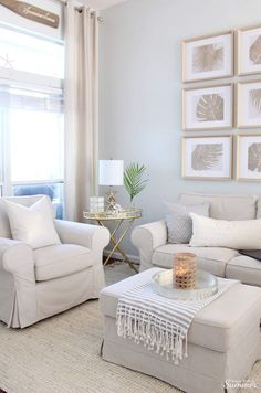Styling My coastal living room for winter House full of summer - coastal decor, living room decor, d Living Room Decor Pieces, Simple Living Room Decor, Coastal Living Rooms, Chic Living Room, Living Room Colors, Rugs In Living Room, Living Room Furniture, Living Room Designs, Living Room Paintings