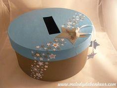 Urne baptême pêcheur d'étoiles en bleu lavande et gris acier Shower Box, Baby Shower, Deco Table, Creations, Party, Wedding, Decorations, Gift Ideas, Gray
