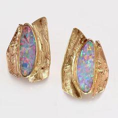 Glenda Arentzen's textured gold and opal doublet earrings