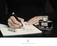 The fountain pens in the Graf von Faber-Castell collection are precision writing implements and could be adversely affected if used with unsuitable ink. We recommend using exclusively Graf von Faber-Castell ink or ink cartridges #fountainpain #craftmanship #ink #handwriting