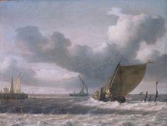 """Jan PORCELLIS, """"Caboteurs aux abords d'un estuaire"""""""