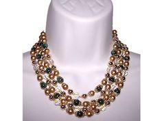 Vintage Costume Jewelry Signed Japan Glass Bead Crystal Gold Beaded Aurora Borealis Jade Green 4 Strand Choker Necklace