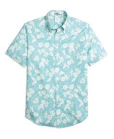 Regent Fit Pineapple Print Short-Sleeve Sport Shirt Aqua