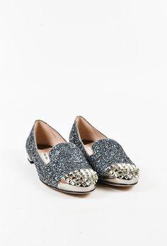 "Miu Miu ""Ardesia"" Metallic Gray Glittered Leather Studded Loafers"