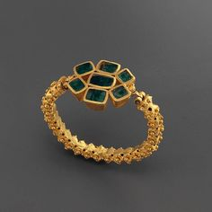 Ancient Roman bracelet. 3rd century with emeralds