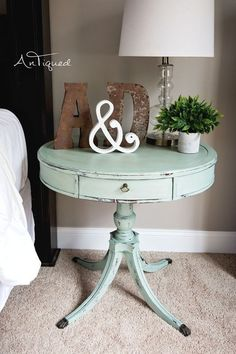 Large Drum Table Chalk Painted in a light aqua! Shabby Chic Decor. #shabbychicbedroomsgirls