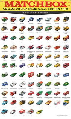 Kostenlose Icons - 1969 Matchbox Cars - Toys that I Had or Wished I Had - Spielzeug Matchbox Autos, Matchbox Cars, Corgi Toys, Vintage Hot Wheels, Hot Wheels Cars, Childhood Toys, Childhood Memories, Toy Trucks, Retro Toys