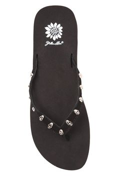 I love these!☠ Yellow Box ~ Black Atlas Thong Flip Flops with Silver Skulls ☠