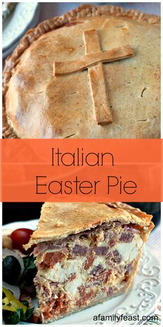 A classic Italian recipe for Easter Pie or Pizza Giana - a dense, delicious pie filled with Italian Meats and Cheeses with a thick crust.