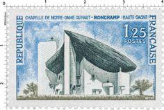 Timbre représentant la Chapelle Notre-Dame du Haut (1964) - Image of the Chapel Notre-Dame du Haut on a stamp (1964)