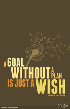 "Inspirational Quote Canvas Art - ""A goal without a plan is just a wish"" - Antoine De Saint Exupery"