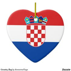 Croatia, flag ceramic heart decoration