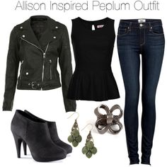 Allison Inspired Peplum Outfit by veterization on Polyvore featuring moda, WalG, Miss Selfridge, Paige Denim and H&M