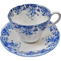 Royal Albert Dainty Blue Tea Cup And Saucer from Tannery Creek Antiques on Ruby Lane.