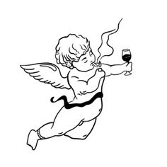 mug art Bad angel is drinking Angel Sketch, Angel Drawing, Tattoo Sketches, Tattoo Drawings, Art Sketches, Cat Tattoo, Chicano Angel Tattoo, Angels Tattoo, Angel Tattoo For Women