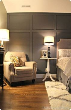 69 Super ideas for bedroom wallpaper accent wall moldings 69 Super. Informations About 69 Super id Grey Bedroom Furniture, Dark Furniture, Bedroom Decor, Gray Bedroom, Bedroom Headboards, Furniture Ideas, Bedroom Ideas, Tile Bedroom, Master Bedrooms