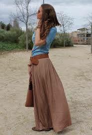 Falda larga marron
