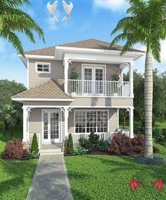 Bonaire_Bonaire_front_587<br> Beach House Plans, Garage House Plans, House Plans One Story, Family House Plans, Craftsman Style House Plans, Car Garage, Home And Family, Coastal House Plans, Küchen Design