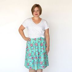 Learn how to sew this easy DIY women's skirt in under an hour, using just one yard of fabric. Easy to follow sewing tutorial for the casual everyday skirt.