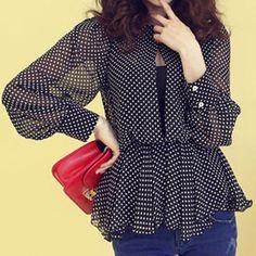 Stylish Round Neck Polka Dot Print Waisted Corset Chiffon Long Sleeve Women's Blouse