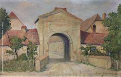 """""""Pförtener Stadttor"""" des Forster Malers Bruno Jähne (1904-1939). Das Bild entstand 1928 (Öl auf Hartfaser) und zeigt das von Graf Heinrich von Brühl 1753 errichtete """"Forster Tor"""" (Brama Zasiecka) in Pförten / Brody mit den beiden Nebengebäuden vor dem Umbau 1931."""