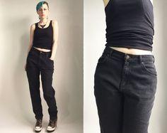 Vintage 1980's Lee high rise black denim mom jeans by trashedbytime
