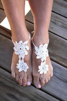 Crochet barefoot sandals, white nude shoes, wedding, sexy, yoga, bridesmaid, beach, pool