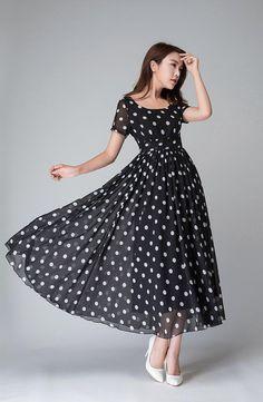 Polka Dot Kleid schwarzen und weißen Kleid von xiaolizi auf Etsy