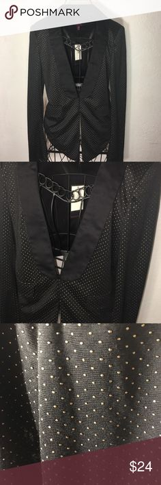 Black and gold tuxedo blazer Black tuxedo blazer with a textured gold pattern. Cinched in the waist, two latch hooks and decorative pockets. Never worn before. Material Girl Jackets & Coats Blazers