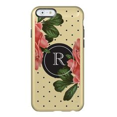 Monogrammed Gold Vintage Rose and Black Polka Dots Incipio Feather Shine iPhone 6 Case http://www.zazzle.com/monogrammed_gold_vintage_rose_and_black_polka_dots_iphone_case-256128025260770471?rf=238675983783752015