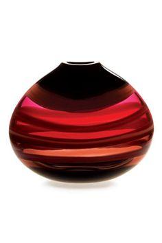 scarlet low oval vase: designed by Caleb Siemon.