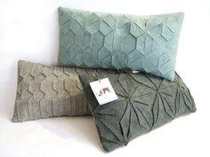 Felt pillow / Geometric pillow / Handmade / Celadon pillow / Arabic geometrical pattern