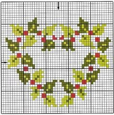 cross stitch holly wreath point de croix