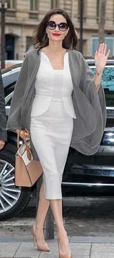 Angelina Jolie in Roland Mouret out in Paris. #bestdressed