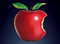 Red And Juicy Bitten Apple With Stem Green Leaves Vector Graphic In Ai PDF