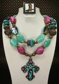 Turquoise & Purple Chunky Western Cross Pendant Cowgirl Necklace with Copper Accents - INdiGo TRaiLs