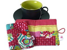Tea Wallet Green and Red / Hearts Tea bag holder / by Driworks