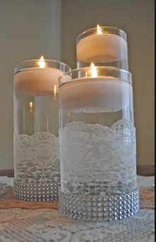 Image Detail for - DIY Wedding: Rhinestone Ribbon Wrap Centerpieces « The Daily Design . wedding shower or rehearsal dinner. 60 Wedding Anniversary, Anniversary Parties, April Wedding, Diamond Anniversary, Anniversary Ideas, Floating Candles, Pillar Candles, Candle Vases, Lace Candles