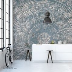 Stunning grunge circle mural in wonderful grey/blue.Produced on high quality non woven 'linen' wallpaper, in numbered rolls of 60 cm. Made on demand on any Bedroom Murals, Wall Murals, Wall Art, Riad Fes, Linen Wallpaper, Feature Wall Design, Instagram Frame, Pallet Painting, Inspiration Wall